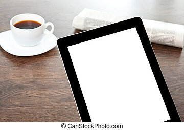 tablet with isolated screen on a table at a businessman