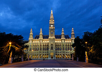 Tall gothic building of Vienna city hall, Austria