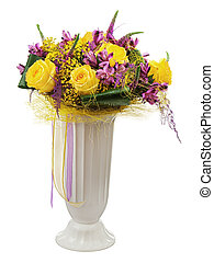 floral, ramo, amarillo, rosas, Orquídeas, arreglo,...