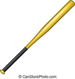 Baseball bat in golden design on white background
