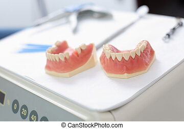 Dentures at dentist clinic - Close up of two dentures inside...