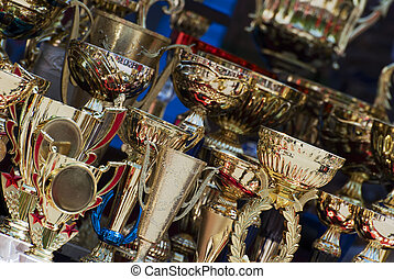 Cups for winners - Set of winning trophies for the...