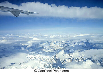 alpi, aeroplano, vista, italiano
