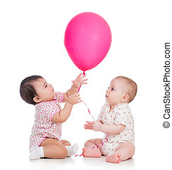 kids girls play red ballon isolated on white