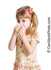 girl crying and cleaning nose with tissue isolated on white...