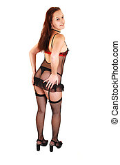 Woman in lingerie and stockings.