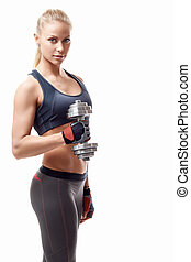 Shape - Sports girl with dumbbells on a white background