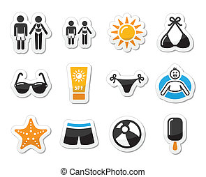 Summer beach holidays vector icons - Beach, travel labels...