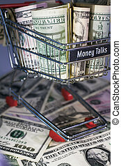 shopping trolley full dollar bill, greenback
