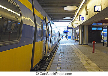 Train waiting at Utrecht station in the Netherlands