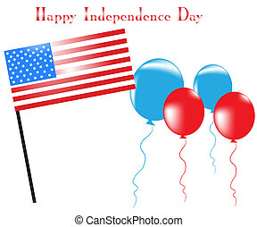 American flag with ballons