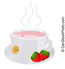 cup of tea with strawberry
