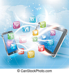 Business Concept with Tablet PC, Smartphone and Application...