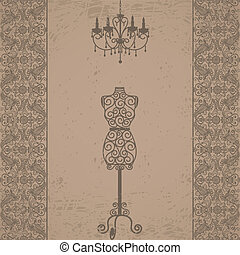 mannequin and chandelier with lace border - Vintage grunge...