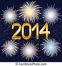 2014 year golden figures and fireworks