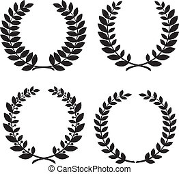 laurel wreath - Set of laurel wreath black silhouettes