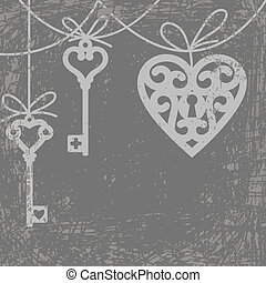 heart and skeleton key - Vintage grunge card with hanging...