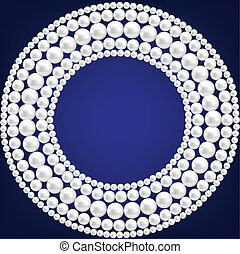 pearl necklace - Dark blue background with pearl necklace