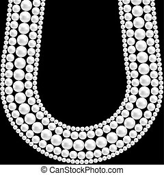 pearl necklace - Black background with pearl necklace