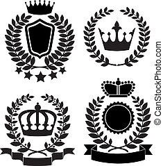 award lable - Black silhouettes of award lable with crown,...