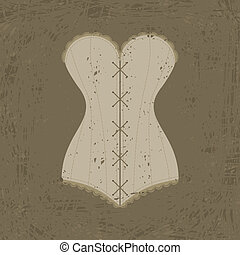 corset with lacing - Vintage corset with lacing on grunge...