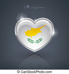 Cyprus - Glossy heart shape flags of the Worlds: Republic of...