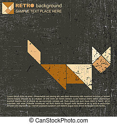 Grunge tangram cat - vector illustration