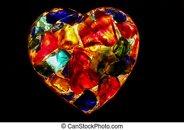 Heart - closeup of back lit stained  glass