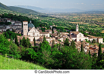 assisi view - view of medieval assisi town in italy