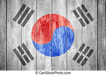 Flag of South Korea or blue,red, black and white Korean...