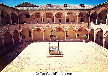 assisi cathedarl courtyard - courtyard of san francesco d...