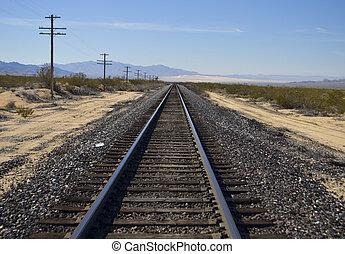 railway tracks in the desert