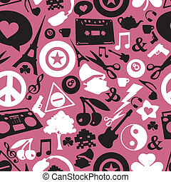 objects on pink background