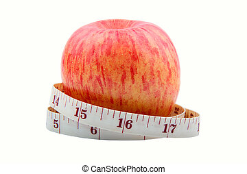 Healthy Eating - Apple with tape measure wround it showing...