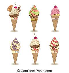 icecream items set isolated on white background, vector...