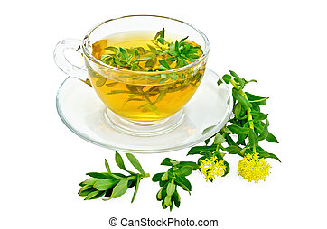Herbal tea with Rhodiola rosea in a glass cup - Healing...