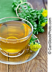 Herbal tea with Rhodiola Rosea on a wooden board - Healing...