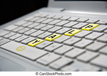 play notebook - white notebook keyboard with yellow play...