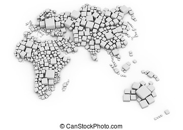 3d map of europe, asia and oceania made out of blocks made...