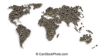 3d map of the world made out of blocks on white background