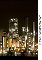 Refinery at night at Europoort, Rotterdam, Holland