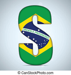 Brazil Flag Brazilian Alphabet Letters Words - Vector -...