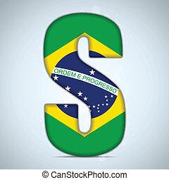 Brazil Flag Brazilian Alphabet Letters Words - Vector -...