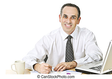 Office worker studying reports - Happy office worker...