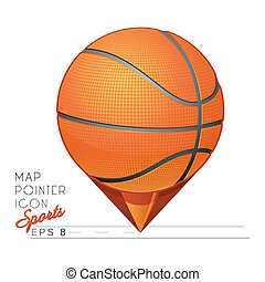 Colorful Basketball Map pointer ico