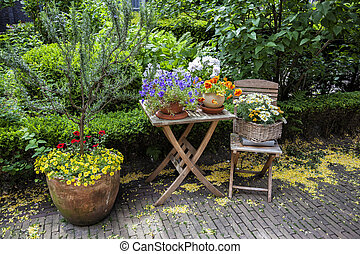 summer garden gate - seasonal image of summer flower coner