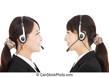side view smiling businesswoman with headphone
