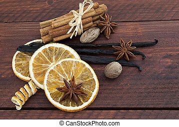 christmas spice decoration - Cinnamon sticks, anise stars,...