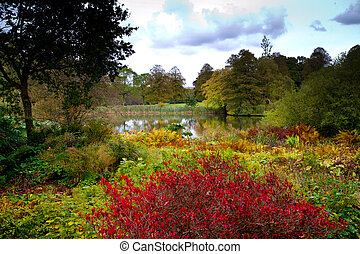 English gardens at autumn time - Forde Abbey Dorset England,...