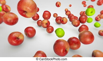 Apples Falling - Red and Green apples are falling in...